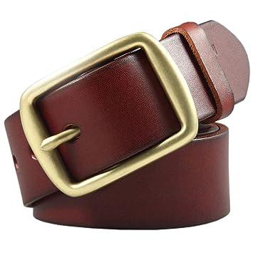 Y-WEIFENG Cinturón clásico para Hombre con Hebilla de latón para ...