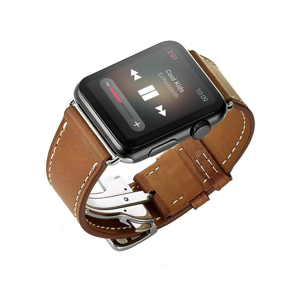 Amazon.com : XBKPLO Leather Band Compatible for Apple Watch Band Series 4 38mm 40mm Solid Brown Series 3/2/1 Replacement Strap Cuff Bracelet : Pet Supplies