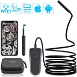 Rotek WiFi Endoscope, Wireless Inspection Camera 19.7 Inch Focal Length, 1080P HD 2.0 MP Borescope With 8 LED, IP68 Waterproof Flexible Snake Camera for Android IOS Smartphone iPhone Samsung - 11.5FT