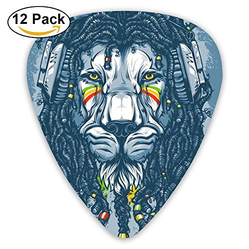 Libra Black Assorted Rasta Lion Acoustic Electric Thin Heavy Medium Grip Guitar Picks Boys 12 Packs Travel Guitar