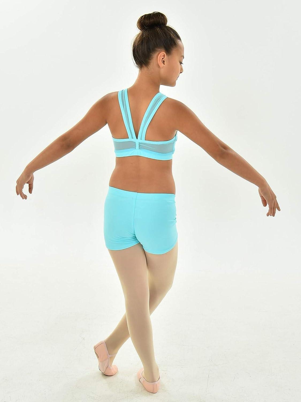 Big Girls Aqua Solid Color Mesh Straps Back DEMI Dancewear Bra Top 7-14