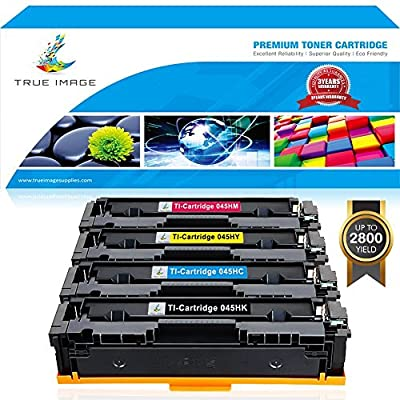 TRUE IMAGE 4 Packs Compatible Canon Cartridge 045 045H CRG-045H CRG-045 MF634Cdw MF632Cdw Toner Cartridge Canon Color ImageCLASS MF634Cdw MF632Cdw LBP612Cdw MF632 LBP612 MF634 634Cdw Printer Toner Ink
