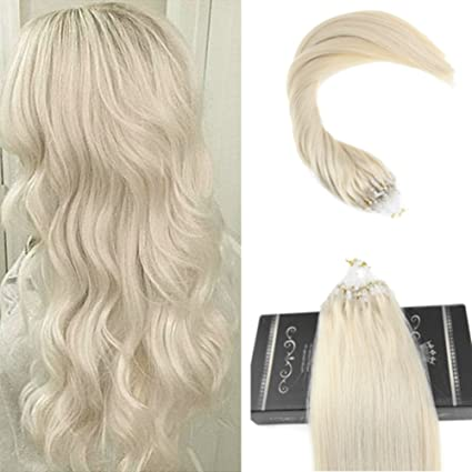 Ugeat 55cm/22 Pulgadas Micro Ring Pelo Natural Liso Recto 1g/s Total 50g