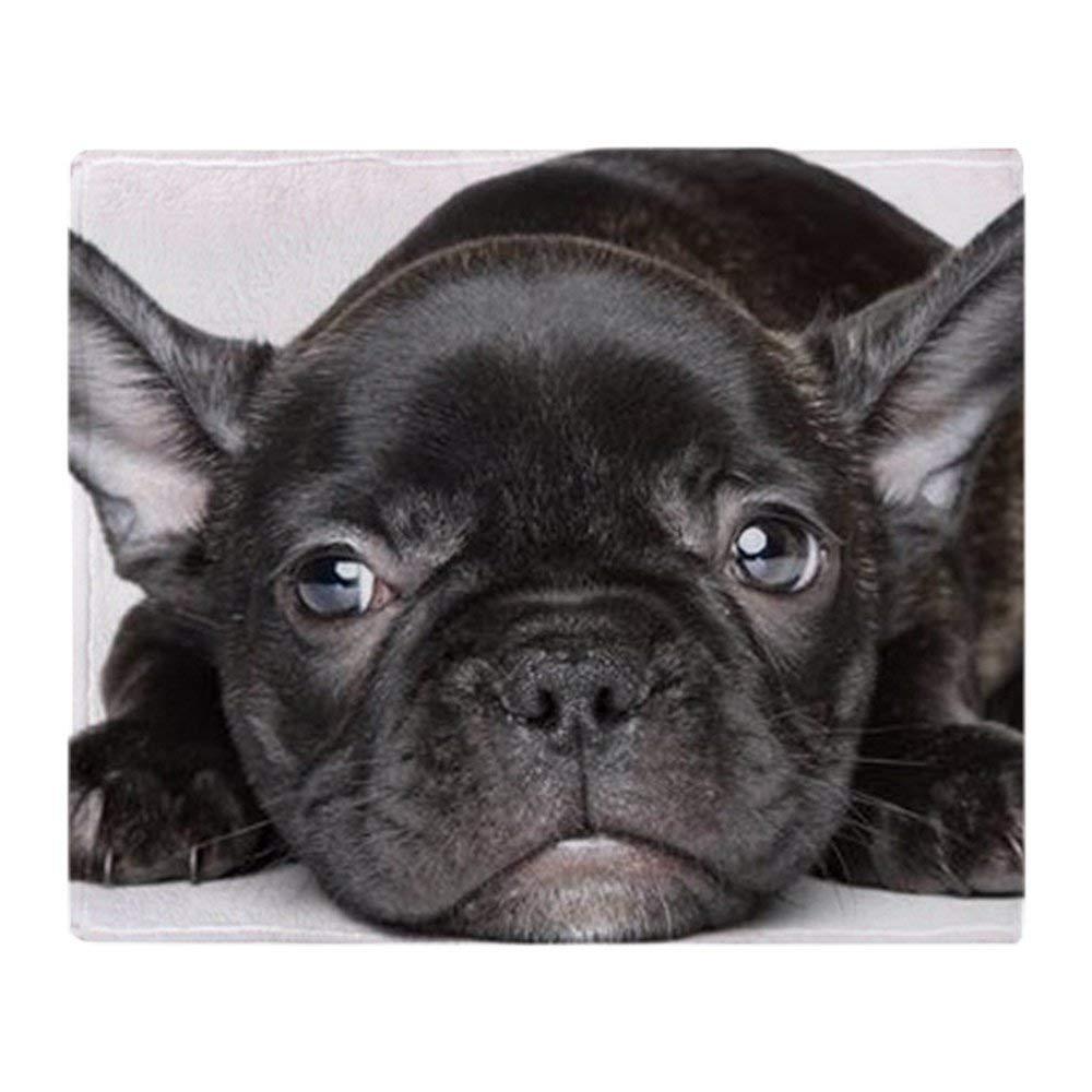 YISUMEI Color Negro Bulldog franc/és Color1 algod/ón Mixto Apto para sof/á o Cama 80 x 120 cm Manta Polar Suave