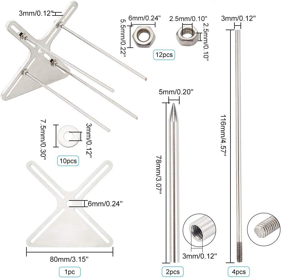 PandaHall Kit de plantillas con 14 cuerdas de paraca/ídas de paraca/ídas de color y 2 agujas de tejer de acero inoxidable para hacer proyectos perfectos en el pu/ño de mono