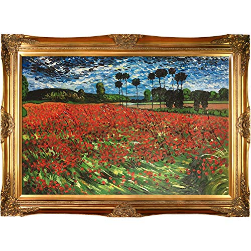 overstockArt Van Gogh Field of Poppies Oil Painting with Victorian Gold Frame, Gold Finish