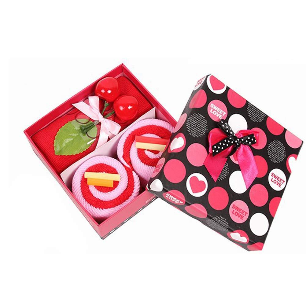Hilai Carino Torta Asciugamano Set di Asciugamani in Morbida Microfibra Mini con Scatola Regalo per Matrimonio Natale Regalo di Compleanno - Rosso