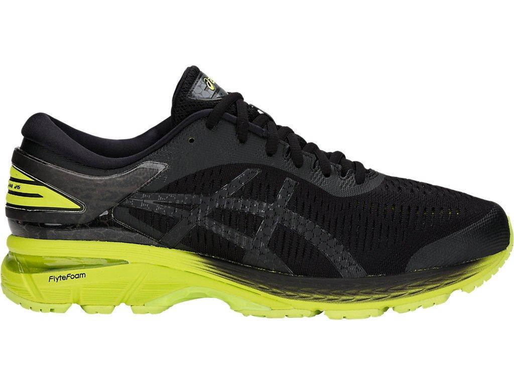 ASICS Men's Gel-Kayano 25 Running Shoes, 11.5M, Black/NEON Lime