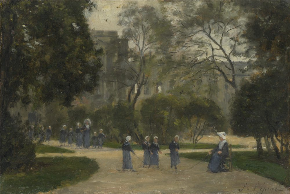 Oil Painting 'Stanislas Victor Edmond Lpine Nuns And Schoolgirls In The Tuileries Gardens Paris ' Printing On Perfect Effect Canvas , 24 X 36 Inch / 61 X 91 Cm ,the Best Hallway Decoration And Home Gallery Art And Gifts Is This Best Price Art Decorative C