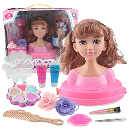Leoie Makeup Doll Head Girls Playset with Beauty and Fashion Accessories [Standard] Double Horsetail air Bangs