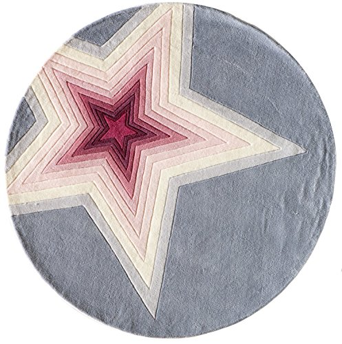 Momeni Rugs LMOTWLMT-7SST500R Lil' Mo Hipster Collection, Kids Themed Hand Carved & Tufted Area Rug, 5' Round, - Blue Round 031