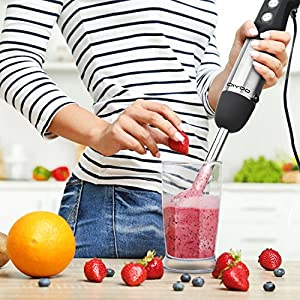 DIYOO Powerful Hand Blender 500W 4-in-1 Immersion Hand Blender Set - Variable 6 Speed Control - Includes 500ml Food Chopper, Egg Whisk, and BPA-Free 600ml Beaker