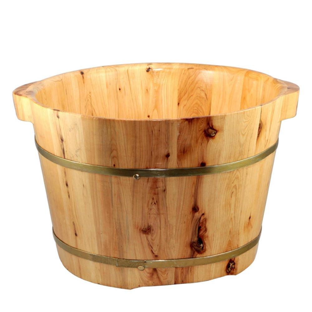AMYMGLL Vasca da bagno per piedi Vasca da bagno in legno massello di cedro solido Secchio per vasca da bagno impregnare l'effetto di conservazione del calore Buona (dimensioni: diametro 37 cm * altezza 26 cm)