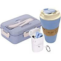 ECO DAY Lunch Box and Drink 3 Piece Set | Bento Style Lunch Container with Bamboo Cup and Reusable Silicone Straw | Eco Friendly, Biodegradable | Leak Resistant | BPA-Free | Alternative to Plastic