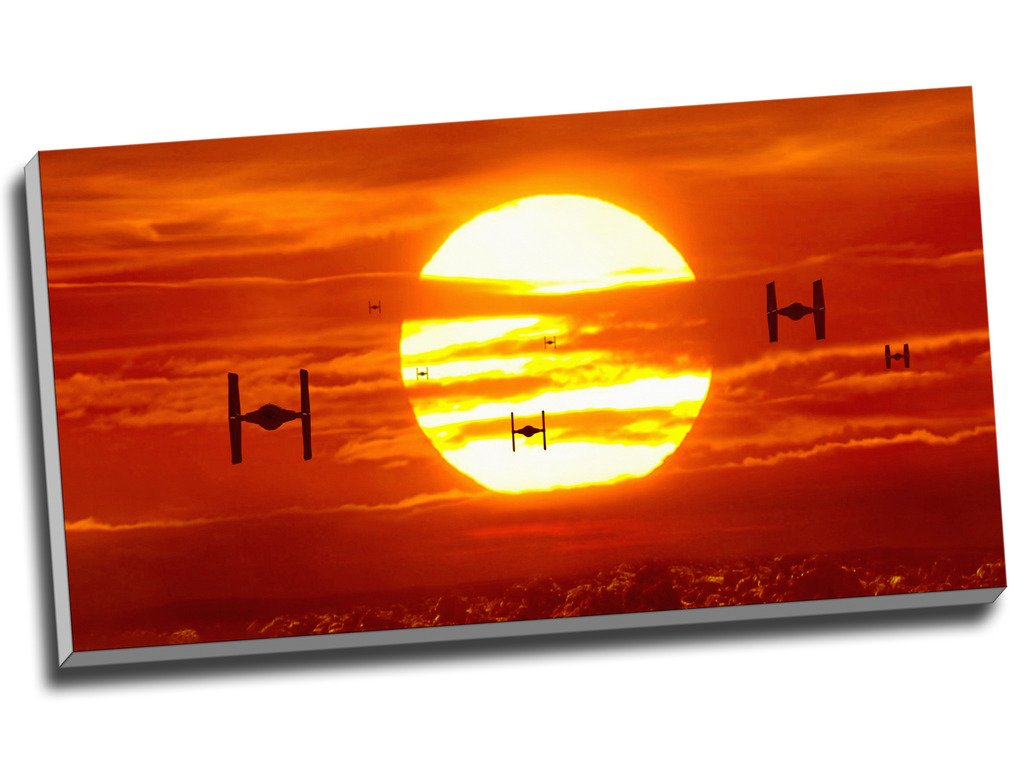 Tie Fighters Sunset Star Wars Canvas Print Wall Art Picture Canvas Prints 30 X 16 Inches (76.2Cm X 40.6Cm) Panther Print