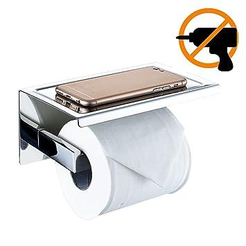 Portarrollos de papel higiénico, de NewPointer, de acero inoxidable SUS 304 pulido, con sujeción adhesiva a la pared y soporte para teléfono móvil