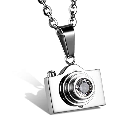 Jewelrywe unisex mens new stainless steel camera photographer jewelrywe unisex mens new stainless steel camera photographer pendant necklace silver with 22 inch chain mozeypictures Image collections