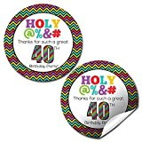 Holy @%*# 40th Birthday Party Thank You Sticker Labels, 20 2'' Party Circle Stickers by AmandaCreation, Great for Party Favors, Envelope Seals & Goodie Bags