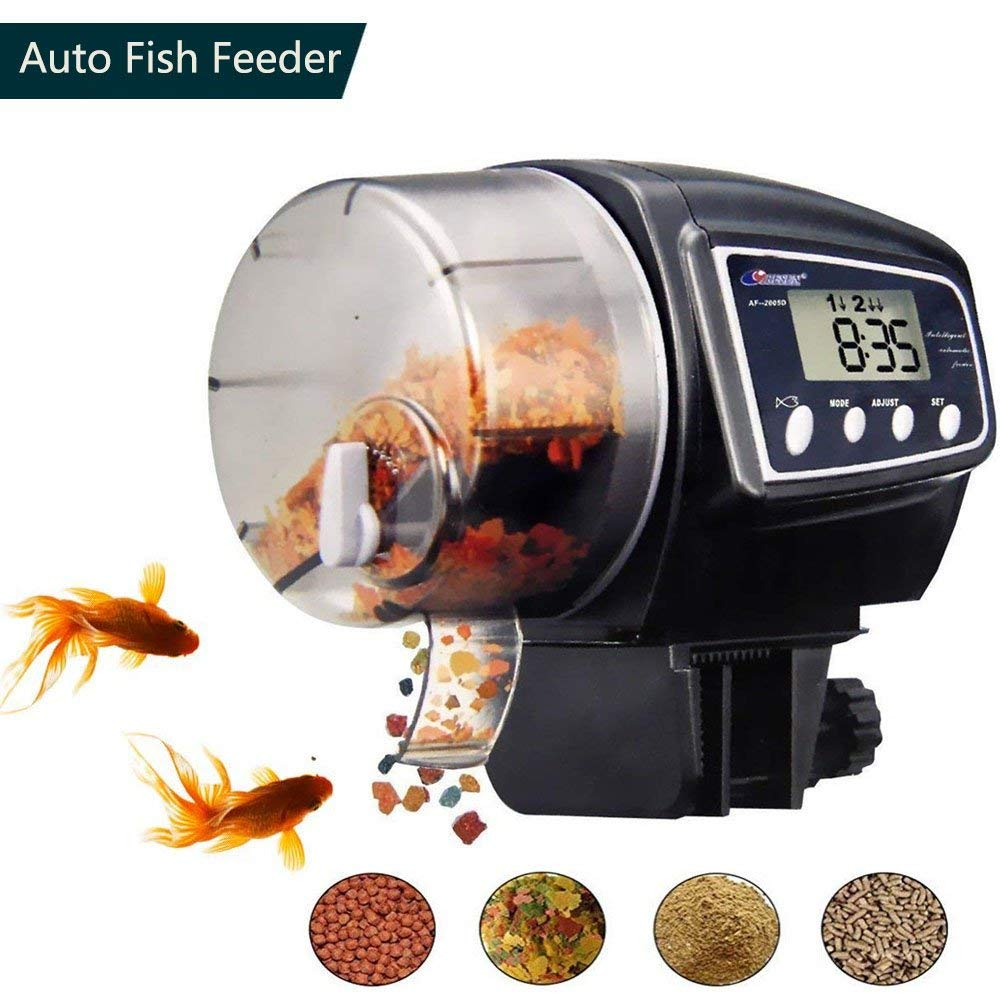 Automatic Fish Feeder, Adjustable Feeding Dose and Frequency Digital Fish Feeder Aquarium Food Dispenser Timer for Fish Tank, Turtle Pond, 100 ML Large Capacity for Vacation