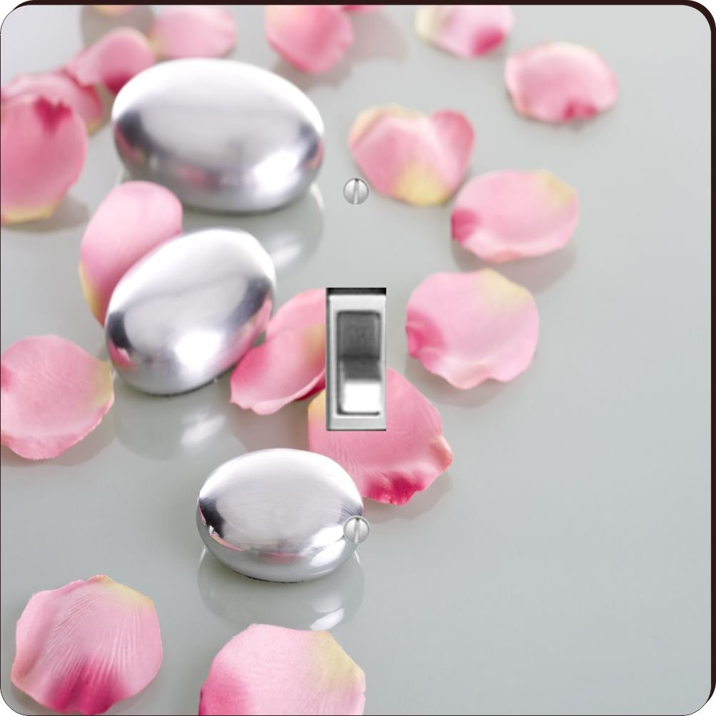 Rikki Knight RK-LSPS-2045 single Toggle Spa Stones with Rose Petals Design Light Switch Plate Cover by Rikki Knight (Image #1)