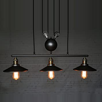 Homestia Vintage Pulley Pendant Loft Ceiling Light Hanging L& Artistic Lighting Fixture & Homestia Vintage Pulley Pendant Loft Ceiling Light Hanging Lamp ... azcodes.com