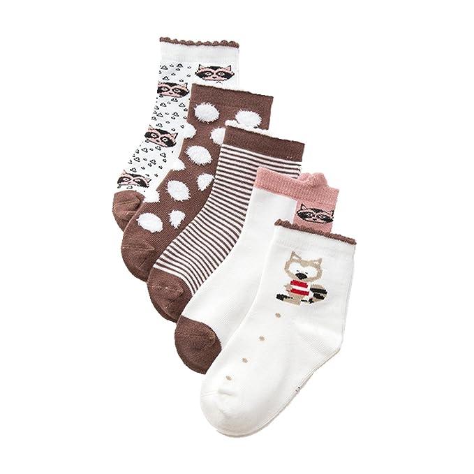 Cczmfeas Niños pequeños Calcetines de algodón Confort de Zorro Calcetines de la tripulación 5 pares Paquete: Amazon.es: Ropa y accesorios