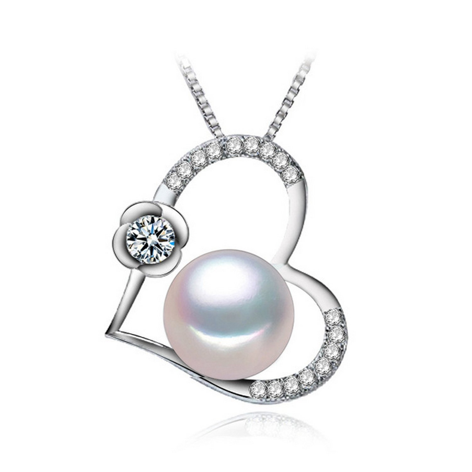 MMC Heart Valentines Stone Rose Pearl Silver Pendants Necklaces