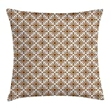 Ambesonne Ethnic Throw Pillow Cushion Cover, Thai Mosaic Art Culture Stylized Abstract Lines Dots Pattern Folk Asian Design, Decorative Square Accent Pillow Case, 16 X 16 inches, Redwood White