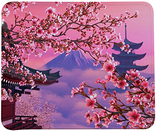 Blooming Cherry Blossoms Mouse Pad,Cherry Flower With Mount Fuji Mouse Pad By ()