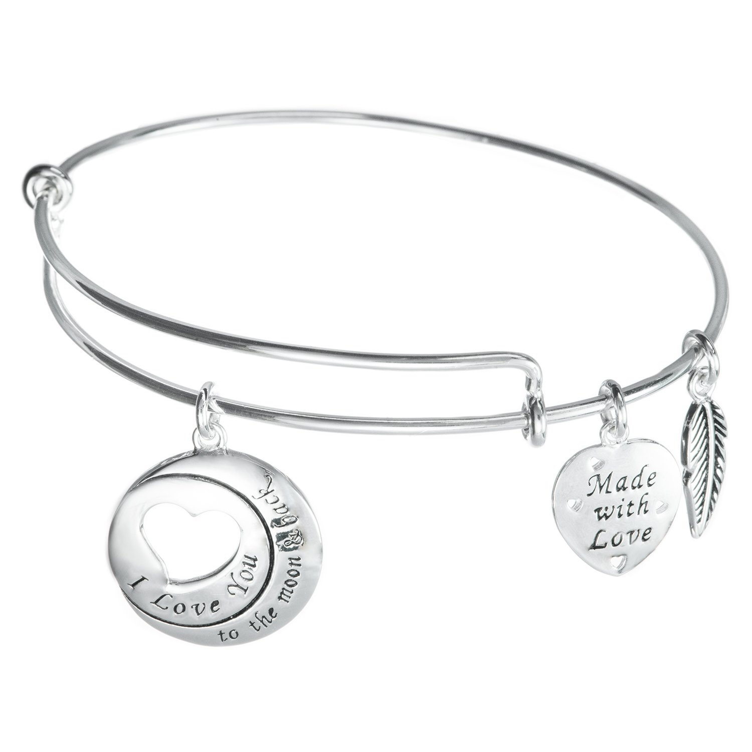 925 Sterling Silver I Love You To The Moon & Back Heart Wing Charm Adjustable Bangle