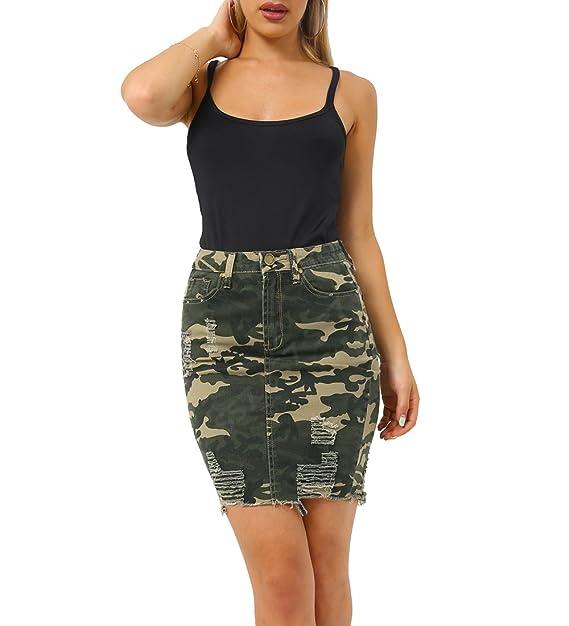 Womens Stretch Denim Skirt Ladies Pencil Ripped skirts NEW Size 8 10 12 14 Blue