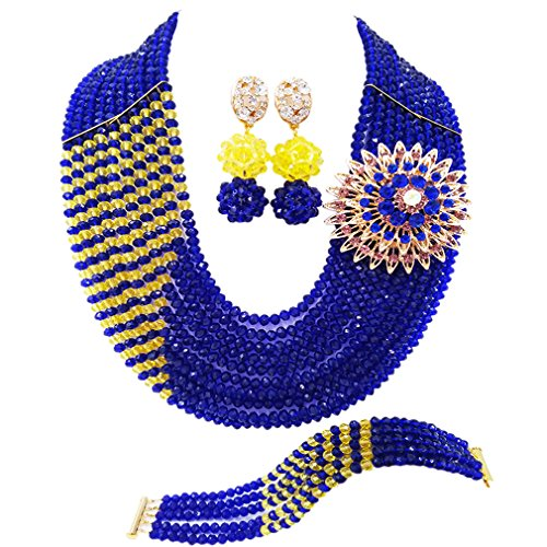 aczuv 10 Rows Fashion African Wedding Beads Nigerian Beaded Jewelry Set Bridal Party Jewelry Sets (Royal Blue and ()