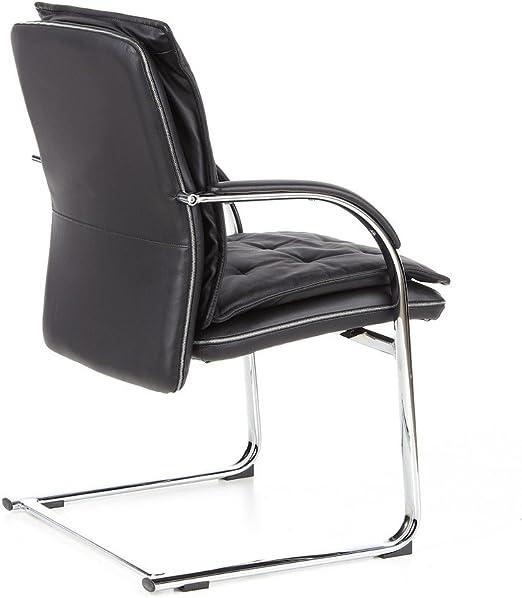 hjh OFFICE 600921 chaise visiteur, chaise de conférence à piètement luge VILLA V noir en cuir, avec accoudoirs, dossier ergonomique, assise large au