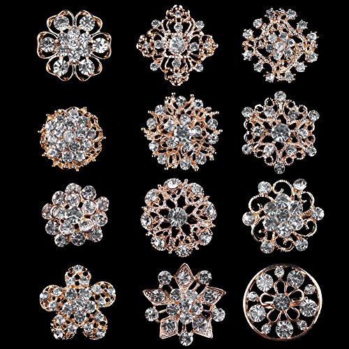 USIX Pack of 12 Floriated Assorted Mini Sparkling Crystal Rhinestone Button Brooches Pin Embellishment Set for Wedding Bouquet Cake Dress Corsage Boutonniere DIY Decoration(Style 2 Gold)