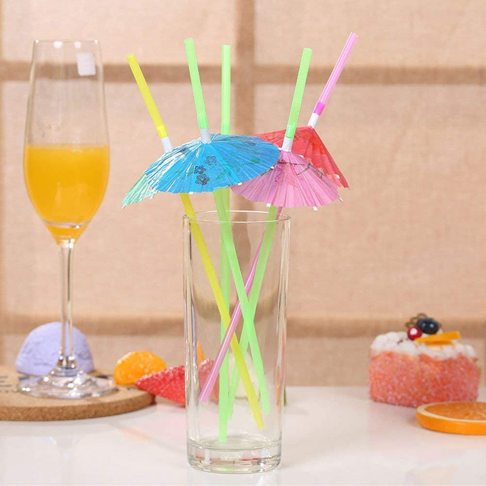 EYLEER Disposable Umbrella-Shaped Party Drinking Straws Table Decor Straws for Tropical Drinks Soft Drinks Hawaiian Cocktail Bars Restaurants Luau Beach Party Supply Beverage Decorations Favors Supplies,Pack of 100
