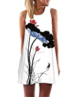 Gillberry Women's Vintage Boho Summer Sleeveless Beach Printed Short Mini Dress