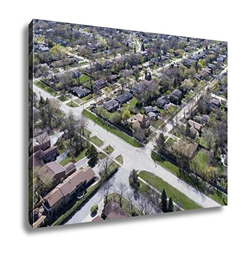 Ashley Canvas, Aerial View Of Suburban Neighborhood, Kitchen Bedroom Dining Living Room Art, 24x30, - Court Northbrook Illinois