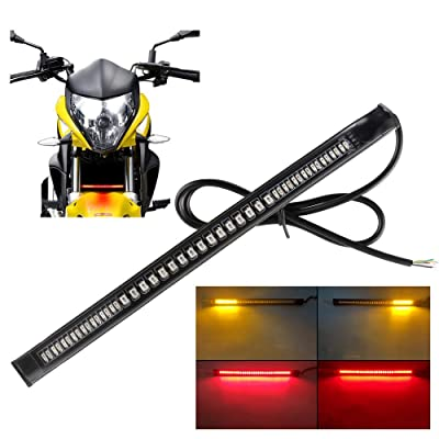 "Sidaqi Universal LED motorcycle Tail Brake Turn Signal Strip Lights 48LED 8"" Flexible for Harley Davidson: Automotive"