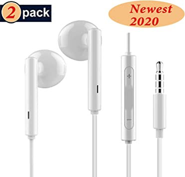 RURUI [2 Pack] Auriculares con Cable y Microfono Auriculares In-Ear Auriculares Movil Sonido Estéreo Auriculares Enchufe Micrófono Compatible con Teléfonos Celulares Jack 3.5mm- Blanco: Amazon.es: Electrónica