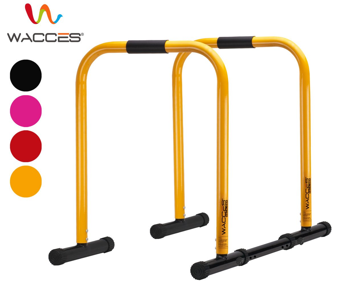 Wacces Heavy Duty Functional Fitness Station Stabilizer Dip Stands - Yellow
