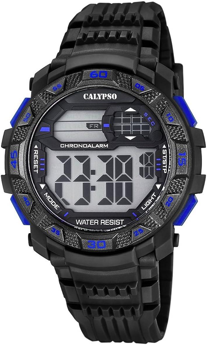 Calypso Hombre Reloj Digital con Pantalla LCD Pantalla Digital Dial y Correa de plástico en Color Negro k5702/7