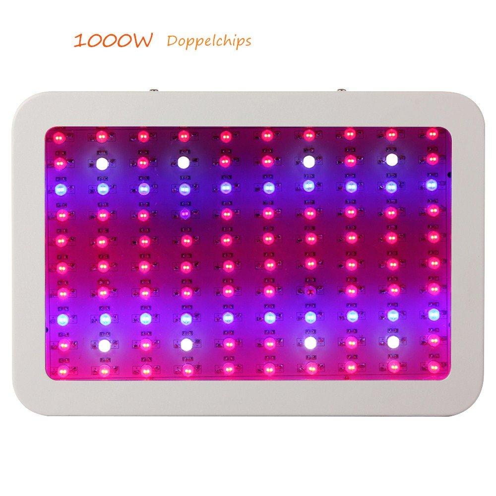 JADIDIS LED Pflanzenlampe 1000W Vollspektrum Wachsen Lichter 100x10W Doppelchips für Hydroponik Zimmerpflanzen Heilpflanzen