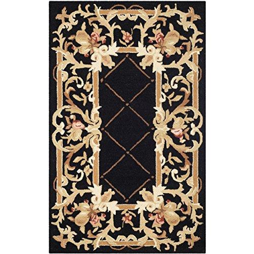 (Safavieh Chelsea Collection HK333B Hand-Hooked Black Premium Wool Area Rug (2'6