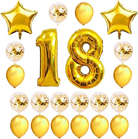 Pack of 24pcs Gold Birthday Number 18 Balloon Bundle
