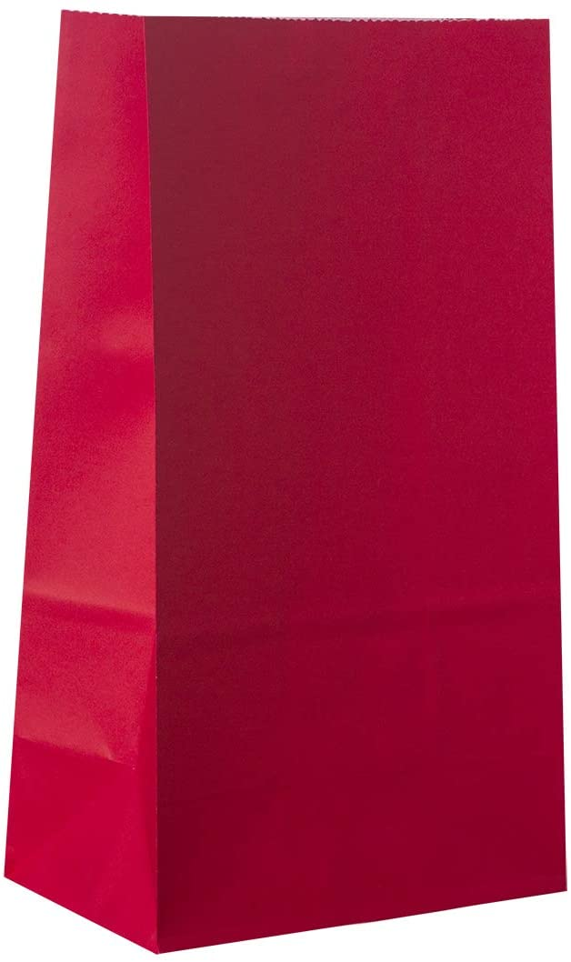 Party Favor Bag - 50 Pack Red Kraft Paper Lunch Food Grade Gift Bags for Chinese New Year, Valentine's Day, Christmas and 4th of July - 5