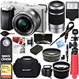 Sony ILCE6300L/S a6300 4K Mirrorless Camera 16-50mm & 55-210mm Zoom Dual Lens Kit (Silver) + 64GB Accessory Bundle +DSLR Photo Bag +Extra Battery+Wide Angle Lens+2x Telephoto Lens+Flash+Remote+Tripod