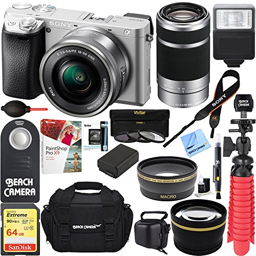 Sony ILCE6300L/S a6300 4K Mirrorless Camera 16-50mm & 55-210mm Zoom Dual Lens Kit (Silver) + 64GB Accessory Bundle +DSLR Photo Bag +Extra Battery+Wide Angle Lens+2x Telephoto Lens+Flash+Remote+Tripod by Beach Camera