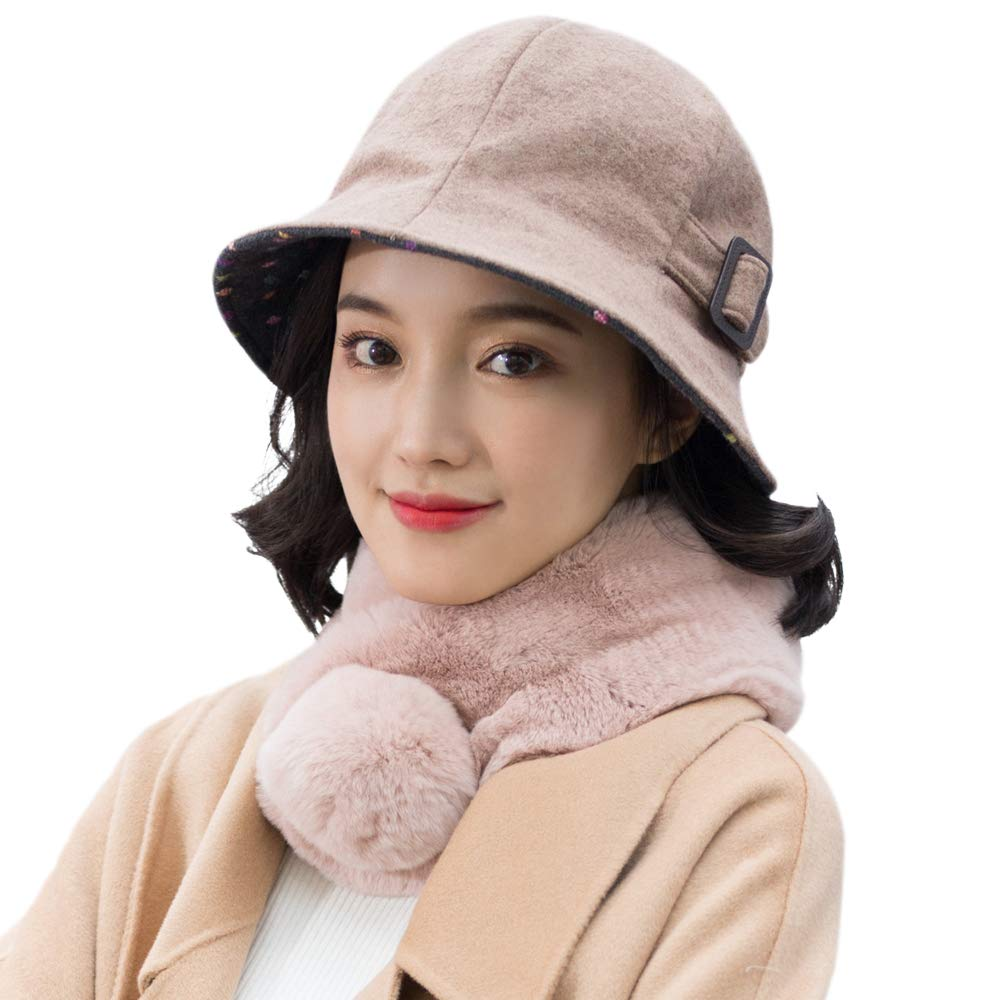 677888 Winter Hat for Women Basin Hat Fisherman Hat Female Autumn and Winter Korean Version of The British Fashion Elegant Hat Wool Adjustable