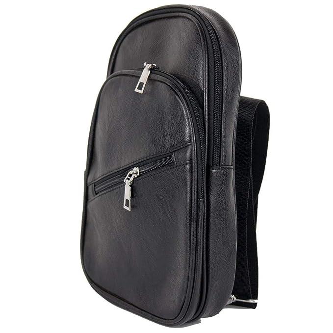 aab73a3013 Zaino monospalla uomo nero vintage da viaggio ragazzo scuola università  borsa a tracolla zainetto borsello piccolo portadocumenti da moto Nero:  Amazon.it: ...