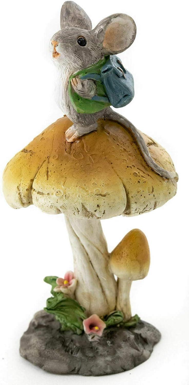 Miniature Dollhouse Fairy Garden Figurine ~ Tiny Mouse w Backpack on Mushroom